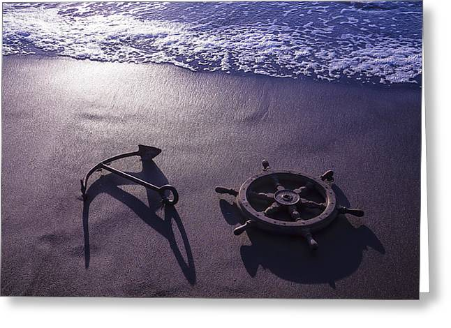 Wooden Ship Greeting Cards - Ocean Beach Anchor Greeting Card by Garry Gay