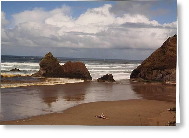 Ocean Scenes Greeting Cards - Ocean Beach And Clouds Greeting Card by Jeff  Swan