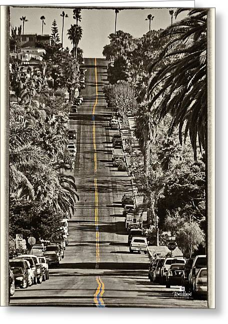 Surfin Greeting Cards - Ocean Beach Asphalt Surfin - Santa Cruz Ave Greeting Card by Russ Harris