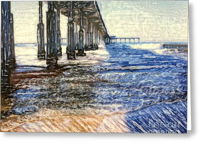 Blue Sailboats Greeting Cards - Ocean Beach Pier Greeting Card by Glenn McNary
