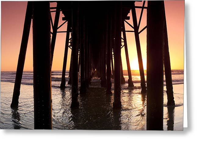 Colorful Sunset Greeting Cards Greeting Cards - Oceanside Pier Tunnel Greeting Card by Sean Davey