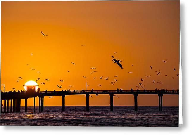 California Ocean Sunset Greeting Cards - Ocean Beach Setting Sun Greeting Card by Garry Gay