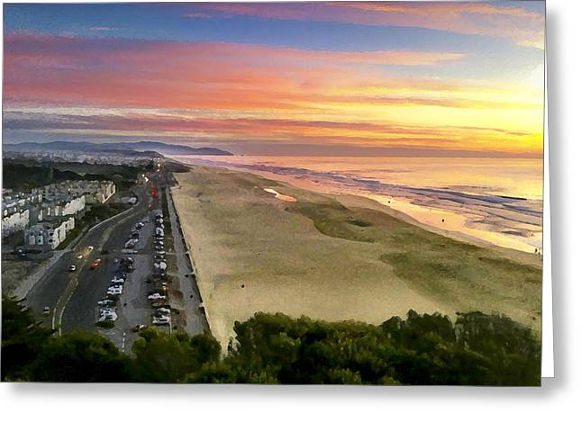 Saxon Holt Greeting Cards - Ocean Beach Sunset from Sutro Heights Greeting Card by Saxon Holt