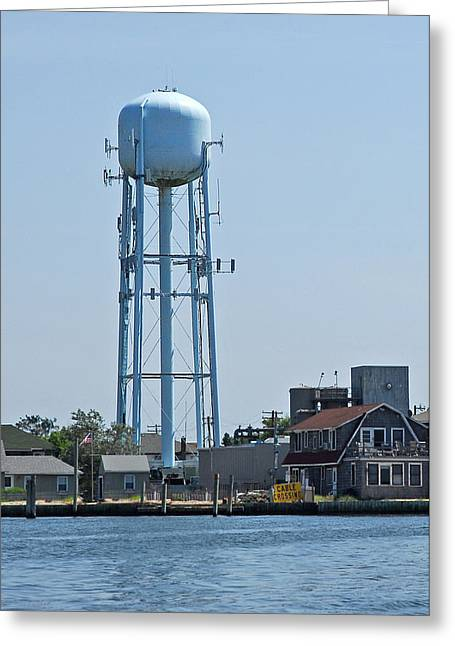 Long Island Greeting Cards - Ocean Beach Water Tower Greeting Card by Alida Thorpe
