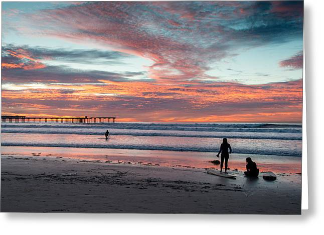 San Diego Greeting Cards - Ocean Beach Winter Sunset One Greeting Card by Josh Whalen