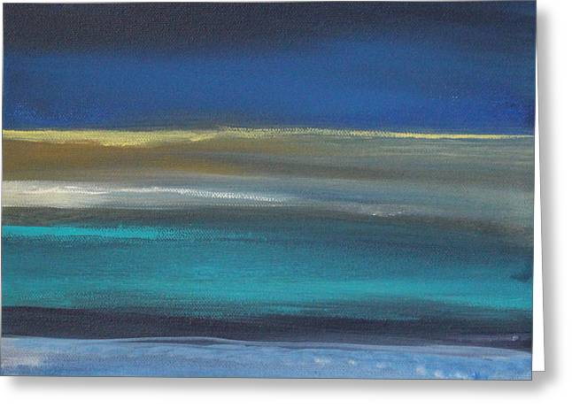 Abstract Landscape Greeting Cards - Ocean Blue 2 Greeting Card by Linda Woods