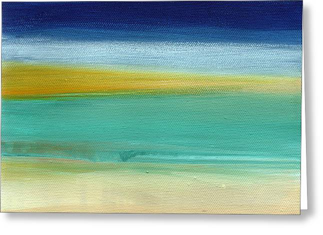 Yellow Line Greeting Cards - Ocean Blue 3 Greeting Card by Linda Woods