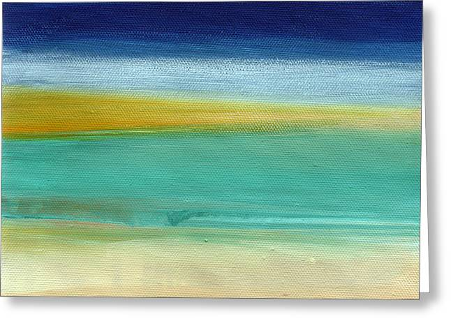 Yellow Abstract Art Greeting Cards - Ocean Blue 3- Art by Linda Woods Greeting Card by Linda Woods
