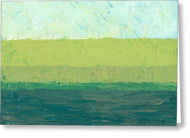 Geometric Image Greeting Cards - Ocean Blue and Green Greeting Card by Michelle Calkins