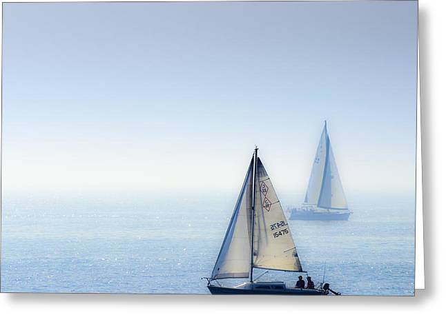 Two Sail Boats Greeting Cards - Ocean Blue Greeting Card by Camille Lopez