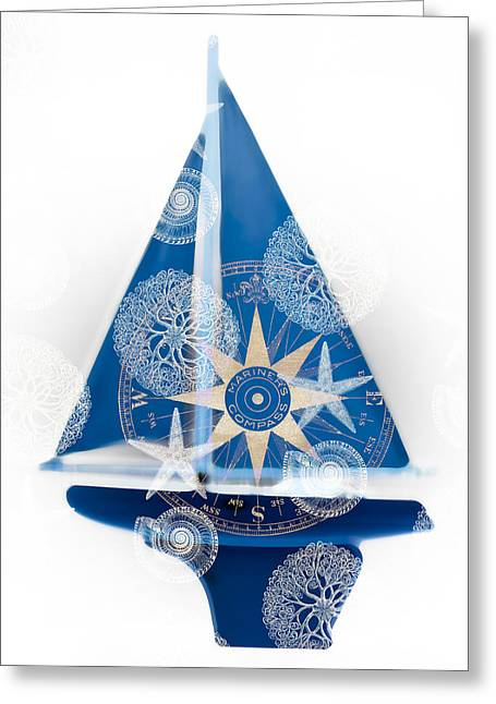 Sailing Ship Mixed Media Greeting Cards - Ocean Blue Greeting Card by Frank Tschakert