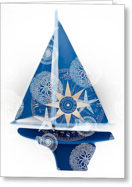 Yachting Mixed Media Greeting Cards - Ocean Blue Greeting Card by Frank Tschakert