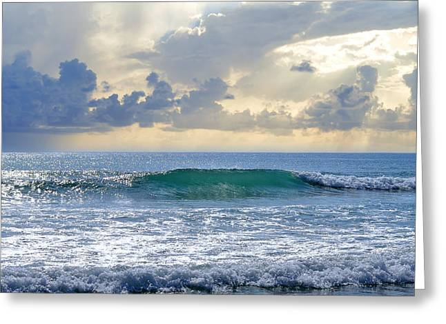 Sun Breaking Through Clouds Photographs Greeting Cards - Ocean Blue Greeting Card by Laura  Fasulo