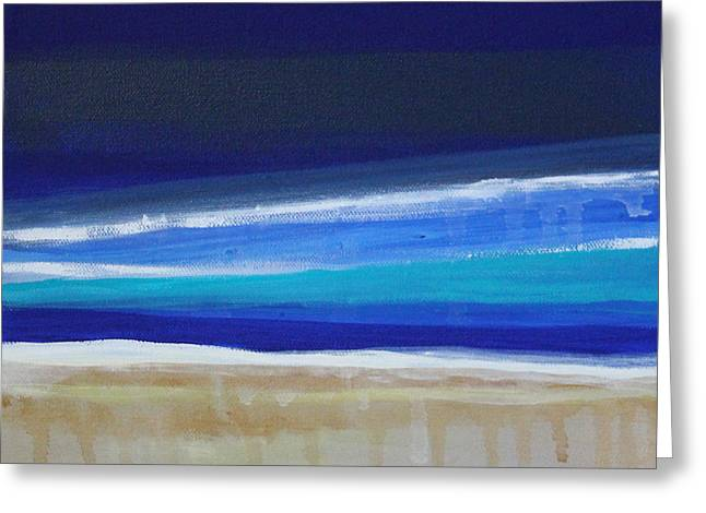 Lines Mixed Media Greeting Cards - Ocean Blue Greeting Card by Linda Woods