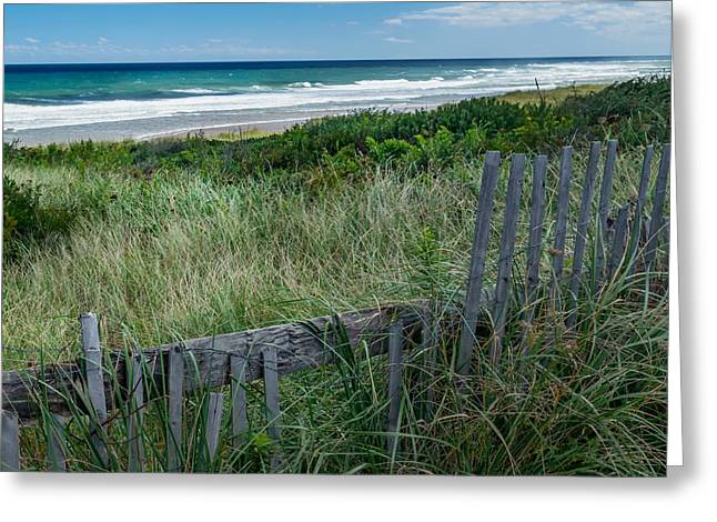 Fence Greeting Cards - Ocean Blues Square Greeting Card by Bill  Wakeley