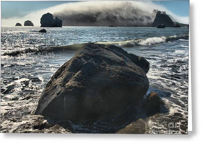Foggy Beach Greeting Cards - Ocean Boulder Greeting Card by Adam Jewell