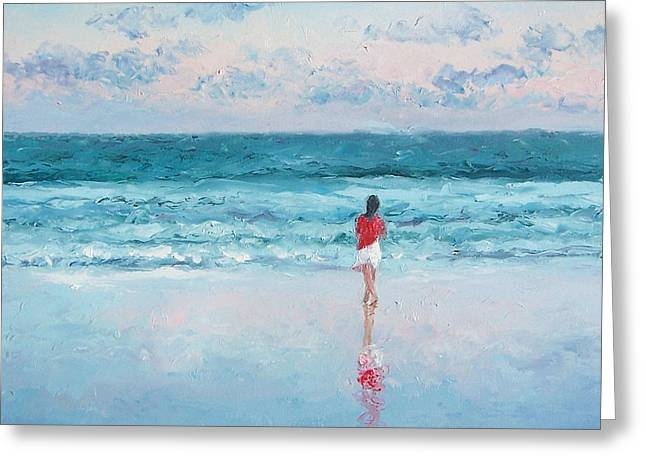 Ocean. Reflection Greeting Cards - Ocean Breeze Greeting Card by Jan Matson