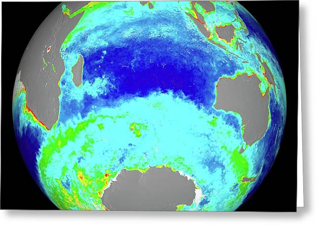 Ocean Chlorophyll Concentrations Greeting Card by Nasa/suomi Npp/norman Kuring