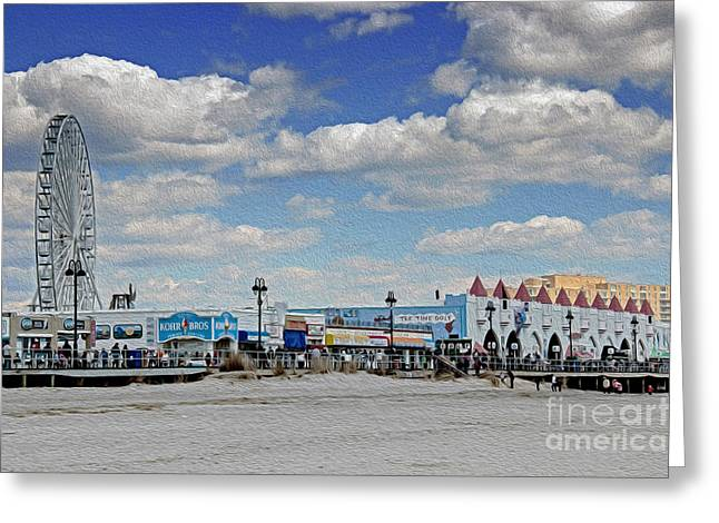 Amusements Greeting Cards - Ocean City Boardwalk Greeting Card by Tom Gari Gallery-Three-Photography