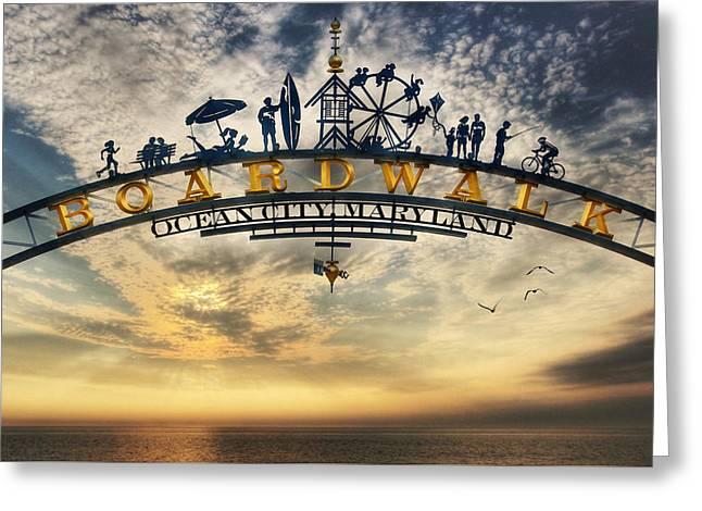 Ocean City Boardwalk Greeting Card by Lori Deiter
