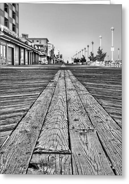 Walk Off Greeting Cards - Ocean City BW Greeting Card by JC Findley