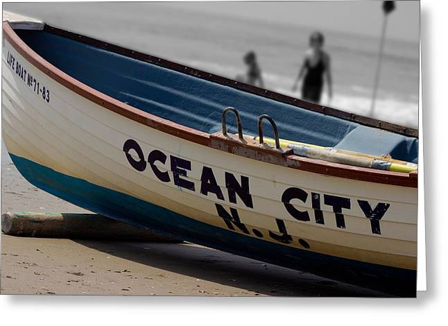 Ocean Art. Beach Decor Greeting Cards - Ocean City NJ Iconic Life Boat Greeting Card by Tom Gari Gallery-Three-Photography