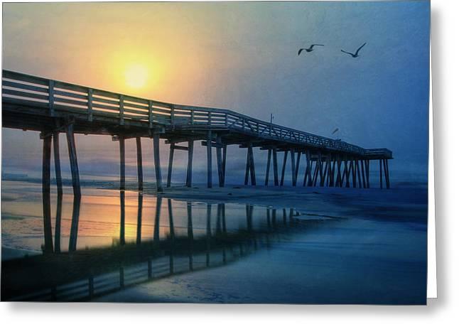 Beautiful Scenery Digital Art Greeting Cards - Ocean City Pier Greeting Card by Lori Deiter