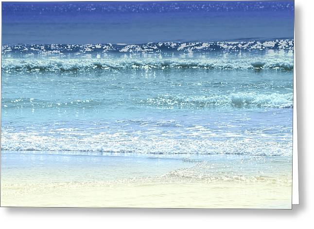 Foam Greeting Cards - Ocean colors abstract Greeting Card by Elena Elisseeva