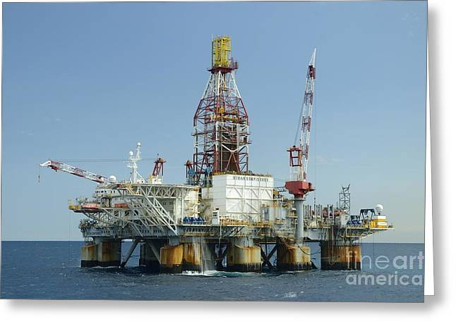 Sea Platform Greeting Cards - Ocean Confidence Drilling Platform Greeting Card by Bradford Martin