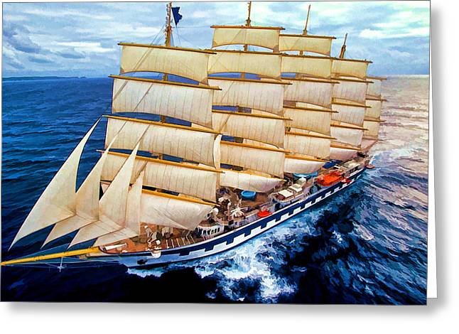 Schooner Mixed Media Greeting Cards - Ocean Cruising  Greeting Card by Garland Johnson