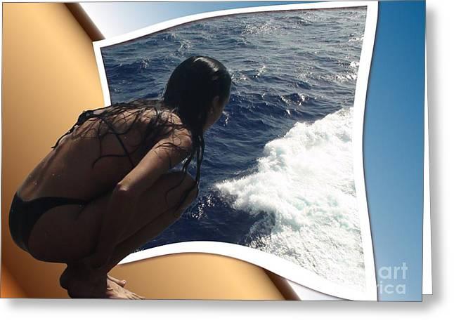 Oof Greeting Cards - Ocean Dip Greeting Card by Debra Chmelina