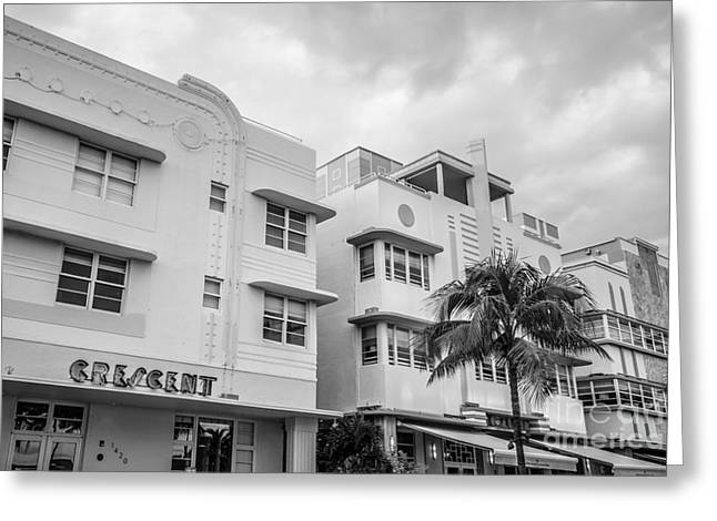 Historic District Greeting Cards - Ocean Drive Art Deco District Hotels - South Beach - Miami - Florida - Black and White Greeting Card by Ian Monk