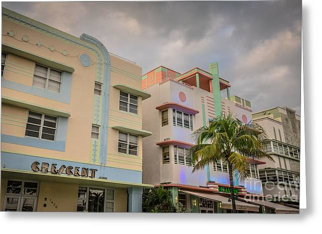 Historic District Greeting Cards - Ocean Drive Art Deco District Hotels - South Beach - Miami - Florida Greeting Card by Ian Monk