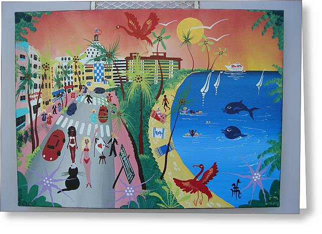 Miami Photographs Greeting Cards - Ocean Drive, Miami Beach, 2010-12 Acrylic On Canvas Greeting Card by Herbert Hofer