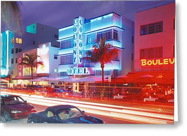 Ocean Art Photography Greeting Cards - Ocean Drive, Miami Beach, Miami Greeting Card by Panoramic Images