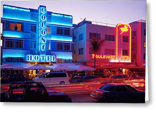 Ocean Art Photography Greeting Cards - Ocean Drive South Beach Miami Fl Usa Greeting Card by Panoramic Images