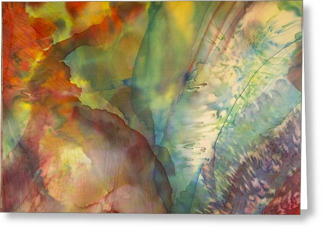 Abstract Movement Tapestries - Textiles Greeting Cards - Ocean Eight Greeting Card by Beverly Johnson