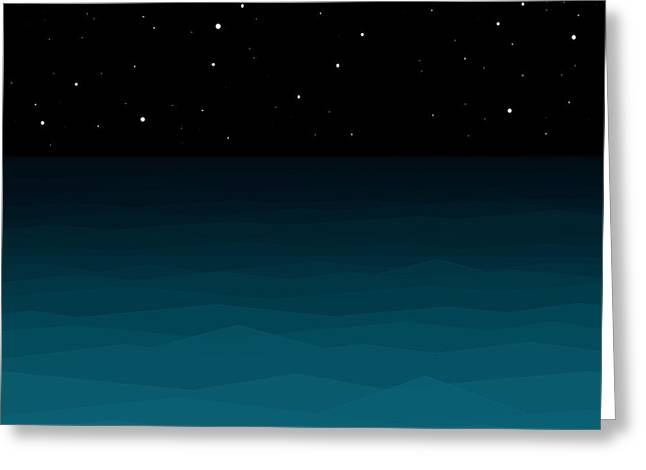 New At Digital Greeting Cards - Ocean - Elements - Starry Night Greeting Card by Val Arie