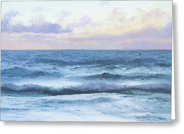 Beach Cottage Style Greeting Cards - Ocean Evening Greeting Card by Jan Matson