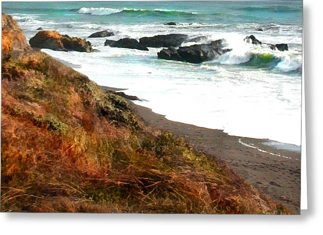 Cambria Greeting Cards - Ocean Foam at Shoreline Greeting Card by Elaine Plesser