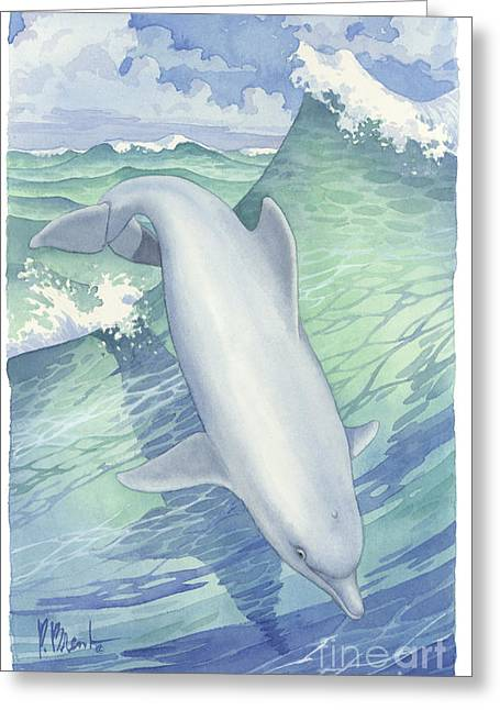 Sea Animals Greeting Cards - Ocean Frolic Dolphin Greeting Card by Paul Brent