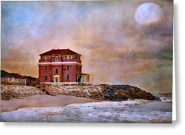 Moon Beach Greeting Cards - Ocean Front Greeting Card by Barbara Manis