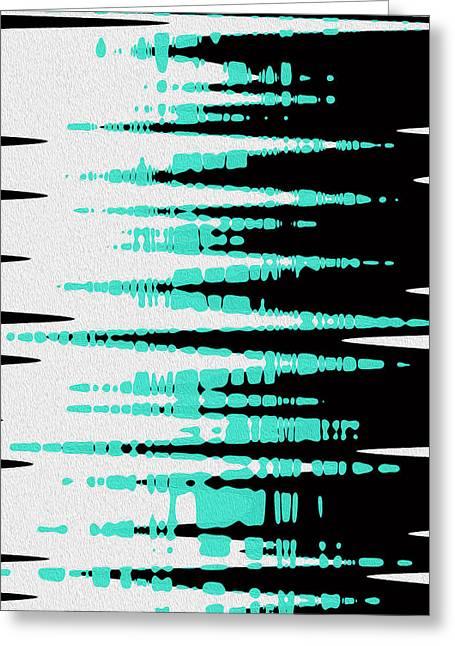Abstract Waves Greeting Cards - Ocean Gentle Waves abstract digital painting Greeting Card by Georgeta Blanaru