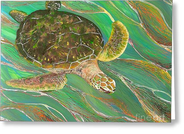Under The Ocean Glass Art Greeting Cards - Ocean Glider 1 Greeting Card by Anna Skaradzinska