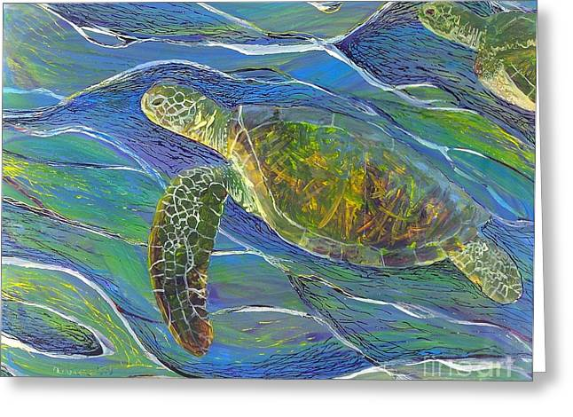 Under The Ocean Glass Art Greeting Cards - Ocean Gliders Greeting Card by Anna Skaradzinska