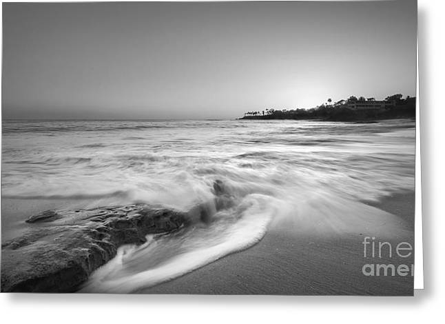 California Beach Greeting Cards - Ocean Glow BW Greeting Card by Michael Ver Sprill