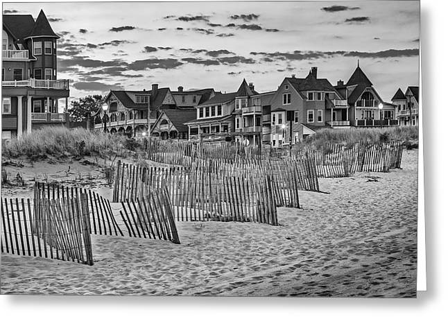 Jersey Shore Greeting Cards - Ocean Grove Asbury Park NJ BW Greeting Card by Susan Candelario