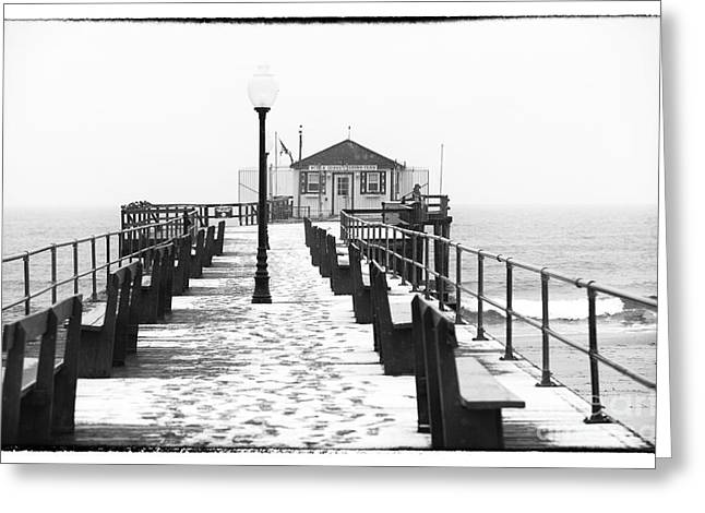 Ocean Black And White Prints Greeting Cards - Ocean Grove Fishing Club Greeting Card by John Rizzuto