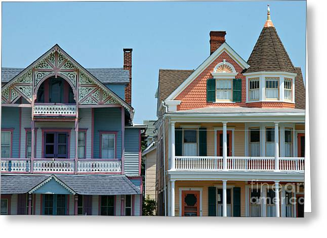 Victorian Home Greeting Cards - Ocean Grove Gingerbread Homes Greeting Card by Anna Lisa Yoder
