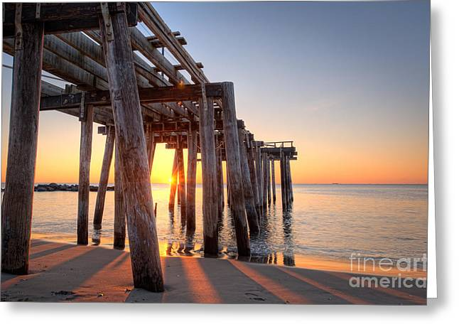 Ver Sprill Photographs Greeting Cards - Ocean Grove Pier Sunrise Greeting Card by Michael Ver Sprill